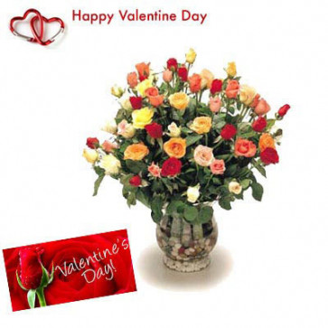 Mix Roses - 25 Artificial Mix Roses Vase + Valentine Greeting Card