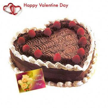 Heart of Black Forest - Black Forest Heart Shaped Cake 2 kg + Valentine Greeting Card