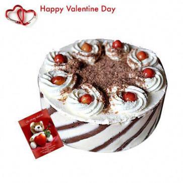 White Forest Cake - White Forest Cake 1 kg + Valentine Greeting Card