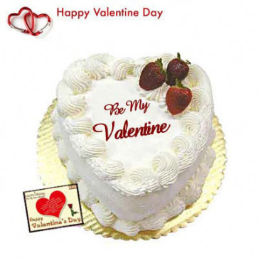 Valentine Pineapple Heart - Pineapple Heart Shaped Cake 1 kg + Valentine Greeting Card