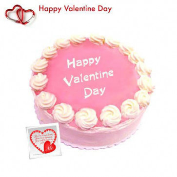 Valentine Pink Heart - Strawberry Cake 1 kg + Valentine Greeting Card