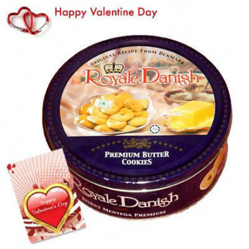 Danish Butter Cookies - Danish Butter Cookies 454 gms + Valentine Greeting Card