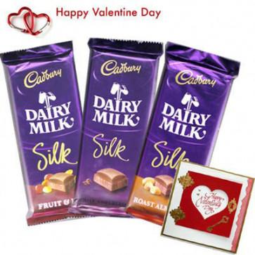 Dairy Milk Treat - Dairy Milk Silk Roasted Almond + Dairy Milk Silk Fruit & Nut + Dairy Milk Silk + Valentine Card