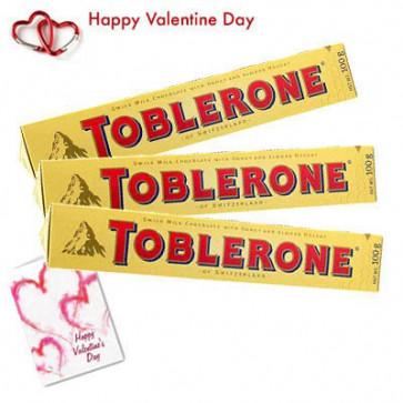 Toblerone Chocolates - Toblerone 100 gms 3 pcs + Valentine Greeting Card