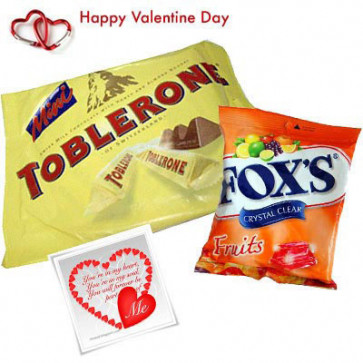 Choco Assortment - Mini Toblerone 200 gms + Fox's Crystal Clear Fruits Candies 90 gms + Valentine Greeting Card