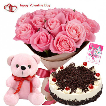 Cute & Tasty Delight - 10 Pink Roses, Teddy 6 inch, 1/2 kg Black Forest Cake & Valentine Greeting Card