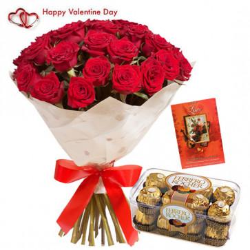 Lovely Valentine Feelings - 10 Red Roses Bunch + Ferreo Rocher 16 pcs + Card
