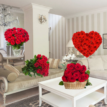 Room Full of Roses - 50 Red Roses Heart + 10 Red Roses Bunch + 12 Red Roses Vase + 15 Red Roses Basket + Card