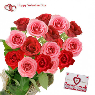 Valentine Beauty - 15 Red Rose + 15 Pink Roses + Card