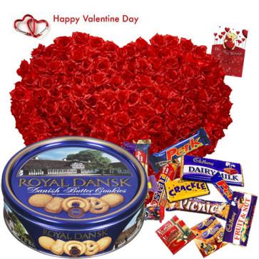 Grand Gift - 150 Roses Heart Shape Arrangement, Danish Cookies, 25 pcs Cadbury Chocolates and Card