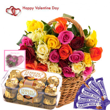 Chocolaty Delight - 35 Mix Roses Basket, 5 Dairy Milk 13 gms each, Ferrero Rocher 16 Pcs and Card