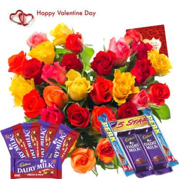 Wonderful Assortment - 40 Mix Roses Heart Shape Arrangement, Assorted Chocolates 5 pcs, 5 Fruit & Nut and Card