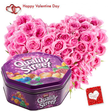Heart of Love - Heart Shape Arrangement 30 Pink Roses, Nestle Quality Street and Card