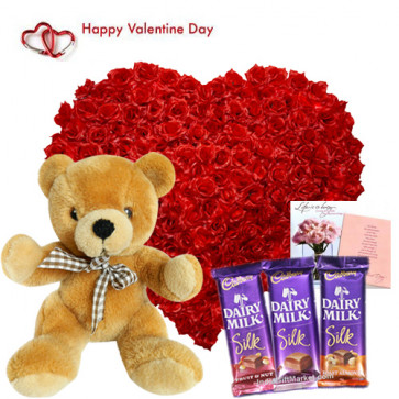 Love Surprise - 100 Roses Heart Shape Arrangement, 3 Dairy Milk Silk, Teddy 10 inch and Card