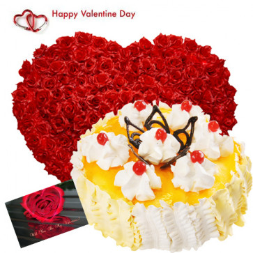 Delicious Treat - 200 Red Roses Heart Shape, Pinaapple Cake 2 kg and Card