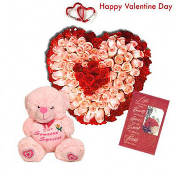 "Special Flowers - 30 Pink and Red Roses in Heart Basket, Pink Teddy 6"" and Card"