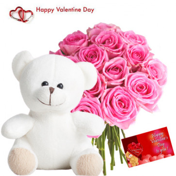 """Love Combo - 35 Pink Roses in Bunch, 20"""" Teddy and Card"""