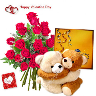 "Love Symbol - 50 Red Roses in Bunch, Couple Teddy 8"", Cadbury Celebration and Card"