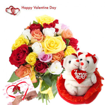"Lovable Gift- 40 Mix Roses in Bunch, Hugging Teddy 8"" and Card"