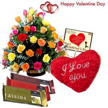 """Flower Mix - 40 Mix Roses in Basket, Heart Shape Pillow 8"""", 3 Temptations 72 gms each and Card"""