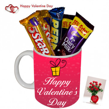 Mug Assortment - Happy Valentines Day Mug, 5 Assorted Cadbury Bars & Card