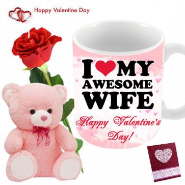 Rose Mug N Teddy - Teddy 8 inch, Happy Valentines Day Mug, Artificial Red Rose & Card