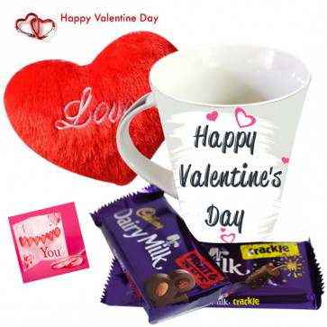 Heart Of Love - Happy Valentine Day Mug, Dairy Milk Fruit N Nut, Dairy Milk Crackle, Small Heart Pillow and Card