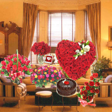 Valentine Flowers Room - 100 Red Roses Heart Shape + 20 Red Roses + 30 Mix Roses Basket + 40 Red Roses Basket + 15 Red Roses Vase + Chocolate Cake 1 kg + Card