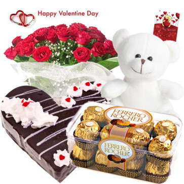 "Valentine Special Combo - 40 Red Roses + Ferrero Rocher 16 pcs + Teddy 8"" + Black Forest Heart Cake 1 kg + Card"