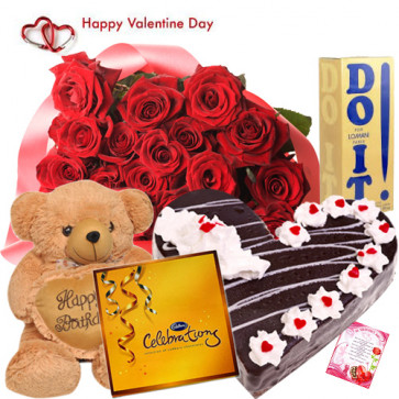 "Valentine Special Hamper - 50 Red Roses + Teddy 10"" + Do It Perfume + Black Forest Cake 1 kg + Cadbury Celebration + Card"
