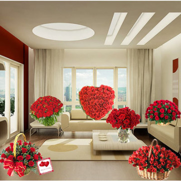 Fragrance Of Romance - Full Room Arrangement with Beautiful Flowers + Card