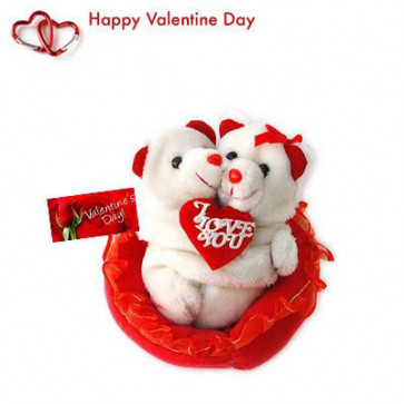 "Valentine Couple - Couple Teddy with Heart 8"" + Valentine Greeting Card"