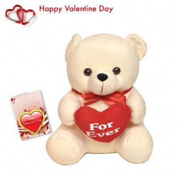 """My Heart For You - Teddy with Heart 10"""" + Valentine Greeting Card"""