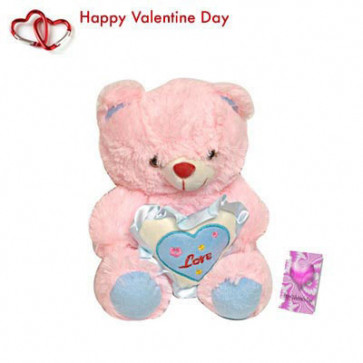 """Adorable Pink - Pink Teddy with Heart 6"""" + Valentine Greeting Card"""
