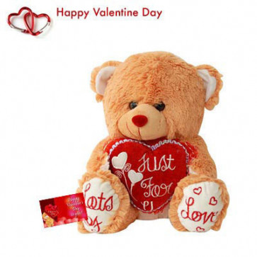 """Golden Heart - Brown Teddy with Heart 8"""" + Valentine Greeting Card"""