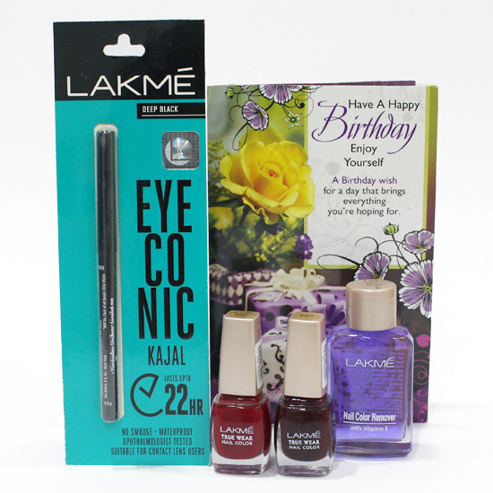 Lakme Fresh Look Combo Lakme Eyeconic Kajal 2 Lakme Nail Polish Lakme Nail Color Remover And Card