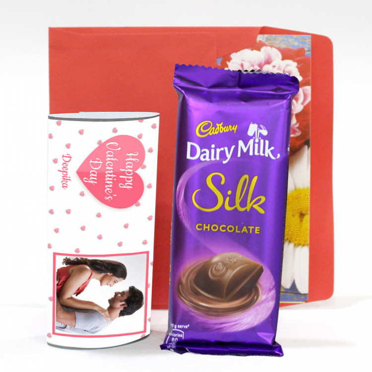Happy Valentines Day Personalized Wrapper With Dairy Milk Silk Valentine Greeting Card