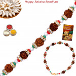 Colorful Rudraksha Pearl & Diamond Rakhi