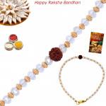 Crystal Beads & Rudraksha Rakhi