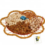 Dryfruits in Designer Tray - Assorted Dryfruits in Designer Tray with a Handmade Chocolate 500 gms