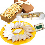 Ideal Combo - Kaju Katli, Cashew nut Box, Ferrero Rocher 5 pcs