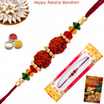 Colorful Rudraksha & Bead Rakhi