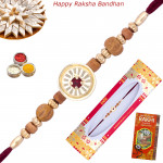 Elegant Golden Sandalwood Rakhi