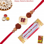 Fancy Sandalwood & Rudraksha Rakhi