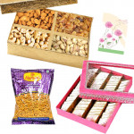 Sweet n Crunchy - Kaju Katli, Assorted Dryfruits, 1 Haldiram Namkeen Pack