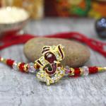 Auspicious Ganesha with Diamonds Rakhi