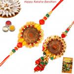Designer Stone & Beads Bhaiya Bhabhi Rakhi Pair