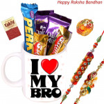 Chocolates in Mug - Assorted Chocolate Bar 5 Pcs, Rakhi Mug with 2 Rakhi and Roli-Chawal