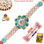 Alluring Blue Floral Diamond Rakhi