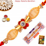 Elegant Golden Net & Diamond Rakhi
